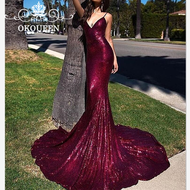 Sparkling Sequined Mermaid Prom Dresses For Women 2019 Long Chapel Train Spaghetti Strap Formal Evening Dress Robe De Soiree