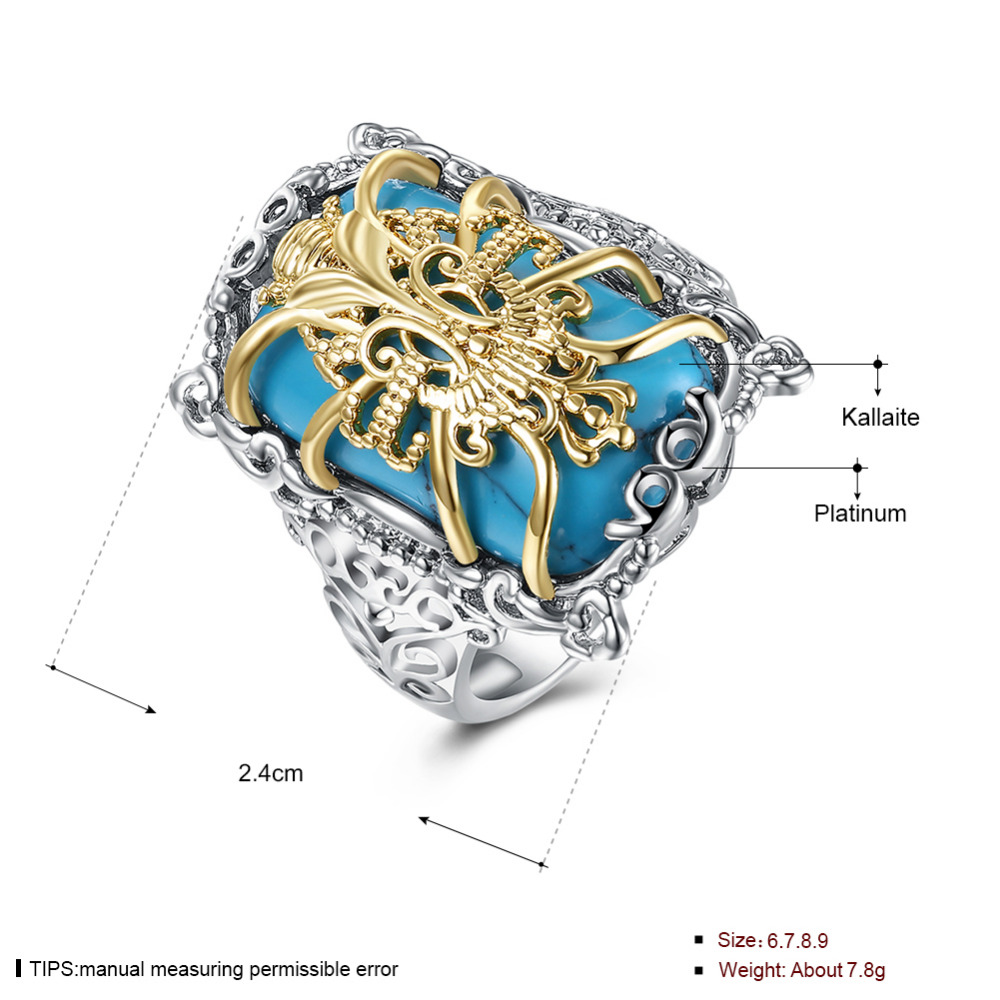 Medium Size 925 Silver Turquoise With Golden Flower