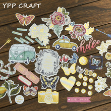 YPP CRAFT 45pcs Colorful Cardstock Die Cuts for Scrapbooking Happy Planner/Card Making/Journaling Project DIY