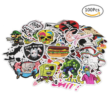 100 pcs Funny Car Stickers on Suitcase Home Decor Phone Laptop Motorcycle Car Covers DIY Vinyl Decal Stickers Home Decoration