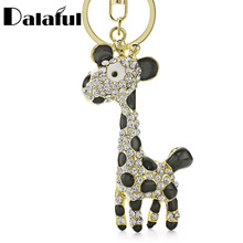 Dalaful Giraffe Deer Pretty Blue Enamel Crystal HandBag Pendant Keyring Keychain For Car key holder K152
