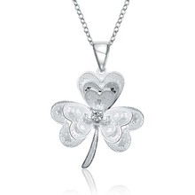 2016 New Trendy lucky Necklace Real 925 stamped silver plated Flower SWA Element Austrian Crystal Girls leaf Necklaces(China)