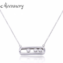 Moonmory 2016 Europe Popular 925 Sterling Silver Pendant & Necklace With 3 Stone Top Quality Engagement Move Necklace Jewelry