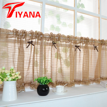 Coffee color short curtain tulle semi-shade kitchen cabinet Pink curtain for living room Door Window Screens #20(China)
