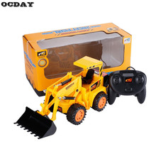 OCDAY RC Truck LED Remote Control Truck Forklift EU Plug Charging Construction Engineering Vehicle Model Toy Gift For Children(China)