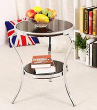 Leisure round table tea table. Glass table. Flower frame induction table