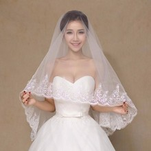 Long Wedding Bridal Veil Lace Applique Sequins Cheap White Tulle Accessories velos de novia veu de noiva longo com renda