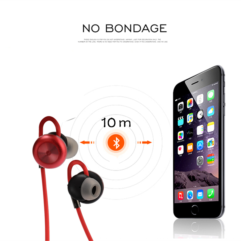 Sports Bluetooth Headset Earphones Noise Cancelling Handsfree Wireless Headset Sweatproof Voice Control Earphone Microphone