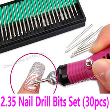 30pcs Nail Drill Bits Set Power Drill Bits Toolkit Electric Drills accessaries 2.35 Pedicure Manicure Carve Punch Machine Tools