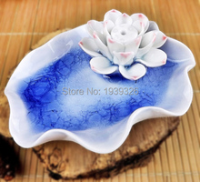 Mini Blue Lotus Pond Incense Holder Tibet Incense Burner Censer Chinese Style Handmade Porcelain Crafts Ceramic Glaze Figurines
