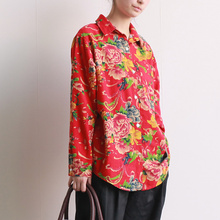 Long sleeve Cotton Linen Flower print Women Shirt Loose Casual Red Green Blouse Chinese style Floral Shirt Blouses Tops A112