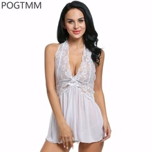 Buy Transparent Nightie Sexy Lingerie Hot Erotic Women Sex Underwear Set Lace Baby Doll Exotic Dress Chemise Porn Costume XXXL L2