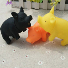 Cute Vinyl Rubber Pig Shape Pet Squeak Toys Dog Cat Puppy Chew Sound Toys Press Sound(China)