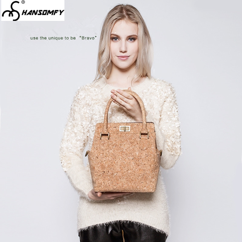 Original Women bucket bag hand strap female cork wood shoulder Bag tide handbag  casual simple fashion lady messenger bag handbag