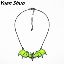 Europe United States foreign trade jewelry wholesale fashion new fluorescent yellow enamel Cute bat short necklace(China)
