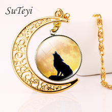 SUTEYI 2017 Vintage Wolf Gold Colors Moon Pendant Glass Tile Necklace Animal Moon Wolf For Women And Men Christmas Gifts