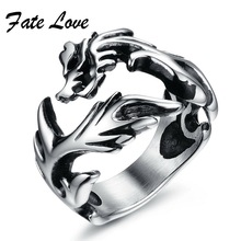 Fate Love (Different Styles Mixed Order) Punk Man Rings Exaggerated personality Stainless Steel Various Finger Ring 1 Lot 5 Pcs(China)