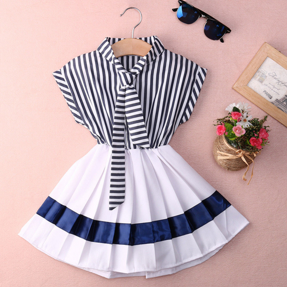 2016 Baby Girl Navy Dress Strip Bow Tie Decoration Summer Kids Sailor Ruched Dresses Girls Clothes Robe Fille Enfant Costume L3<br><br>Aliexpress