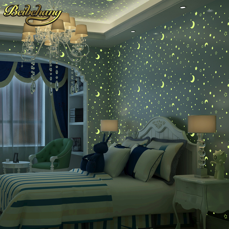 beibehang papel de parede 3d stars moon snowflakes Luminous mural wallpaper for children room pink blue bedroom wall paper roll<br>