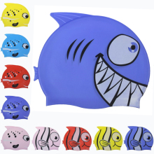 Cartoon Fish Sharp Teeth Shark Children Kids Swim Pool Sports Flexible Waterproof Silicone Diving Protect Ears Swimming Cap Hat(China)