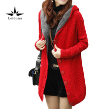 Leiouna Hooded Long Twinset Cardigan Warm Sueter Tricot Winter Poncho With Sleeves Knitting Jumpers Knitwear Autumn Coat Lady
