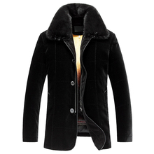 Men's Winter Golden Mink Fur Lined Coat Black Mink Fur Lined Coat For Men Imported Silk Velvet Shell Is Smooth And Breathable
