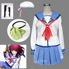 Athemis Halloween Angel Beats Angel Nakamura Yuri cosplay costumes Girls dress with Hat Pleated Skirt custom made Any size(China)