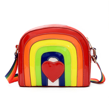 Small side of the package 2017 new European and American fashion rainbow Messenger bag bright stitching shoulder bag