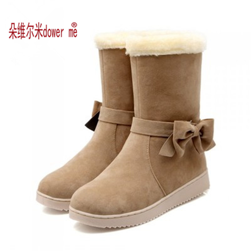 2017 New Arrival Hot Sale Women Boots Solid Bowtie Slip-On Soft Cute Women Snow Boots Round Toe Flat with Winter Shoes<br><br>Aliexpress