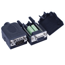 DB9 serial COM transfer-free solder terminals RS232 connector housing 422 DR9 nine pinhole plate 485 male and female head Black(China)
