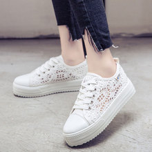Summer Women Shoes Casual Cutouts Lace Canvas Shoes 2018 Hollow Floral Breathable Platform Flat Shoe(China)