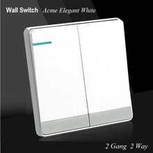 Large Panel Wall Switch 2 Gang Double Control Switch Acme Elegant White Simple and Fashion Decoration Switch 86mm*86mm(China)