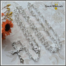 Religious Cheap Clear Faceted Plastic Rosary Necklace Saint Catholic Transparent Jesus Cross Rosary Jewelry(China)