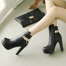 Women's Pu Leather Ankle Boots 큐어 (High) 저 (힐 패션 궁뎅이 플랫폼 Zipper Winter 숙 녀 Shoes Gray Black White(China)