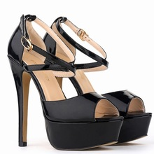 European Style Thin High Heels Fashion Platform Sandals Dress Shoes Women Patent Leather Sexy Night Club Summer Sandal SMYBK-107(China)