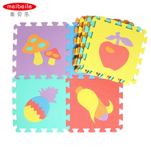 MEIBEILE 10PCS Kids Baby Play Mats Foam Floor Puzzle Mats Educational Toys for Children Play Fruits Animails Cars Numbers