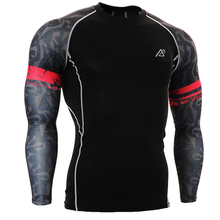 2017 Men's football Compression T Shirts apparel long Sleeve Athlete Basketball Man Bodybuilding Gym Clothes Slim Sportwear