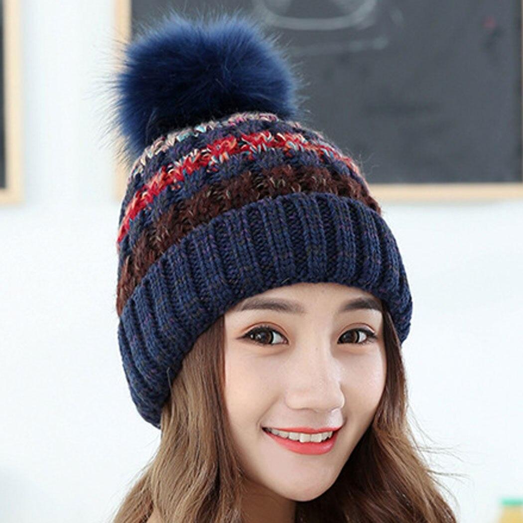 Autumn Winter Knitted Woolen Cap Women Fur Pompon Beanies Crochet Hat Female Warm Caps Mix Color Women Skullies BeaniesÎäåæäà è àêñåññóàðû<br><br><br>Aliexpress