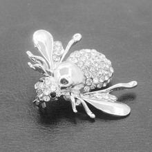 10 pieces/lot Beetle Brooches Crystal Bee Gold Silver Plated Rhinestone Insect Brooch Pins Badges Accessories Women Men Jewelry(China)