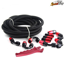 Fittings End Adaptor KIT OIL/FUEL BLACK HOSE with Spanner AN6 NYLON & STAINLESS STEEL BRAIDED HOSE