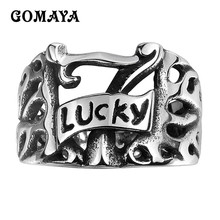 GOMAYA 2017 Fashion Men's Ring Vintage Punk Ring Carved Antique Finger Ring for Men Women 316L Stainless Steel(China)