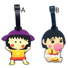 Fashion Lovely Chibi Maruko Chan Travel Accessories Luggage Tag New Cartoon Silica Gel Suitcase Baggage Tags Portable Label 10cm