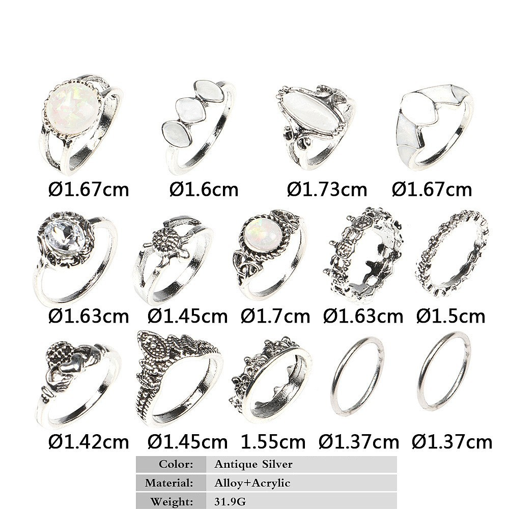 Bague Femme Vintage Rings for Women Boho Geometric Flower Crystal Knuckle Ring Set Bohemian Midi Finger Jewelry Silver Color 69
