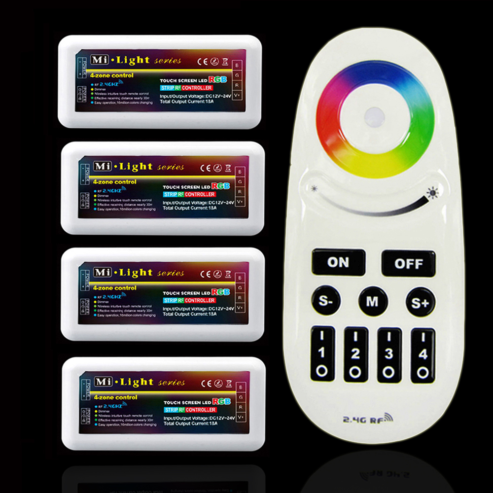 1pcs Mi.Light 2.4G Wireless RF Remote + 4pcs 4-Zone RGB Controller FOR 5050 3528 5630 LED Strip<br><br>Aliexpress