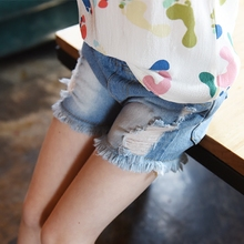 Kindstraum 2017 New Summer Children Solid Denim Shorts Brand Holes Straight Children's Shorts Elastic Waist Girls Shorts,RC564