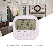 2017 New Weather Station LCD Digital Thermometer Hygrometer Temperature Humidity Meter Gauge With Clock