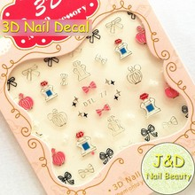 FOREVERJASMINE 24pcs Silvery Romantic Perfume Bottle Nail Art Sticker Cute Bowknots Nail Decal French Manicure Decoration No77(China)