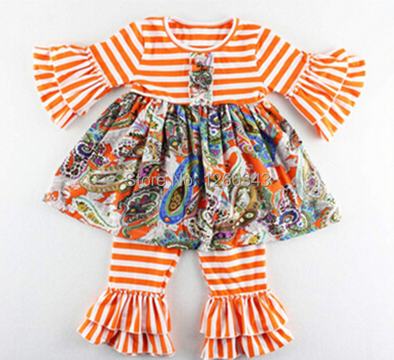 Newest Spring girls boutique clothing outfits girls ruffle pants set,Orange Striped Baby Clothes ,Ruffle Floral Girls Outfit<br><br>Aliexpress