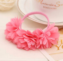 Fashion 1 PC Nice Chiffon Flowers Girl Rubber Bands Barrettes Headwear Hair Accessories(China)