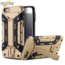 KISSCASE Card Slot+Kickstand Hard Phone Case for iPhone 7 6 6s 6 7 plus Case for iPhone 5 5s SE Armor Man Army Style Cover Capa(China)